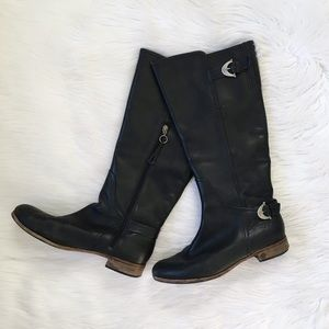 UGG Black Leather Buckle Riding Boots